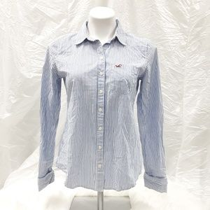 Hollister Striped long sleeved button down blouse